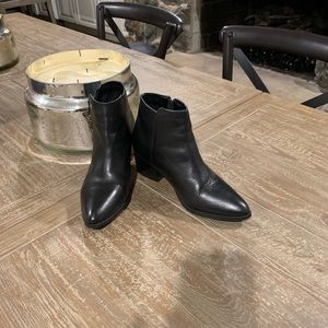 Topshop EUC Black Leather Pointy Boots*7